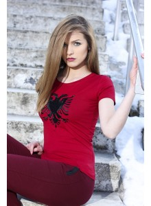 T-shirt with Eagle dark Red  (woman)