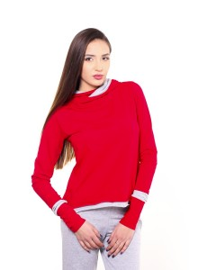 Sweatshirt with the hood - Red with grey