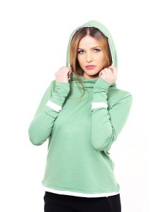 Sweatshirt with the hood - Green white