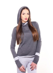 Sweatshirt with the hood - Dark grey with light grey