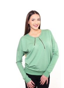 Standard size blouse with zippers - Green