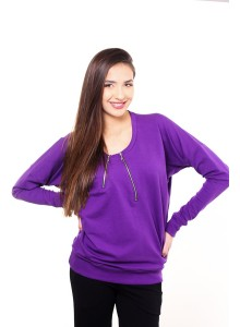 Standard size blouse with zippers - Purple